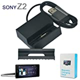 No1accessory black desktop SYNC / Charging USB Cradle dock docking station battery charger stand with Detachable Case adapter for Sony Xperia Z2 (compatible without or with a slim-fit case)