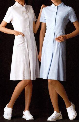 上品できちんと感のあるワンピーススタイル!ナース・看護師用 女子・女性用 白衣 診察衣 ワンピース  ホワイト M