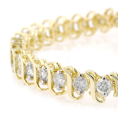 2 cttw. Diamond Tennis Bracelet, 10K Yellow Gold - (J-K; I2-I3)