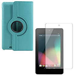 DMG PU Leather 360 Degrees Rotating Stand Case for Asus Google Nexus 7 1st Generation 2012 (Light Blue) + Matte Anti-Glare Screen Protector