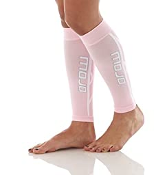 Mojo Graduated Compression Calf Sleeves for Men and Women - Helps Shin Splints, Best Leg Sleeves for Running (Large, Pink)
