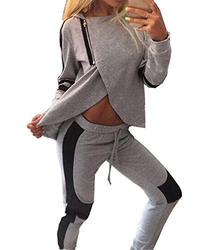 Donna Tuta Da Ginnastica Tuta 2 Pezzi con Cappuccio Stile Casual Tuta Sportiva Training Set Camicetta + Pantaloni Grigio S