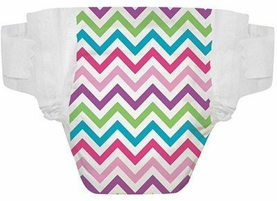 Disposable Fashion Diapers Fun Prints Great Gifts Plant Based Inner & Outer Layers. (Newborn, Chevron)
