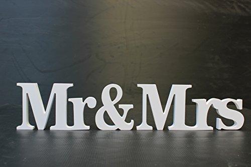 Cadeau de mariage Mr & Mrs Cérémonie Lettre décor, Bois dense, blanc, 3.15 inch