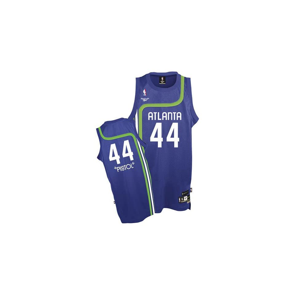 Reebok Atlanta Hawks  44 Pistol Pete Maravich Blue Youth Soul Swingman  Jersey 3f359ef32