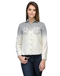 Kiosha Grey Cotton Regular Collar Shirt for Women