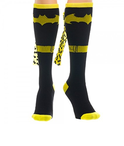 Black Batman Suit Up Knee High Socks w/ Printed Yellow Cape