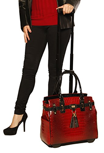 Red rolling luggage Laptop Bag On Wheels
