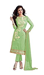Glorious World Green Chanderi Embroidered Dress Material