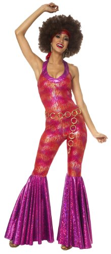 Womens 70's Foxy Disco Jumpsuit Costume Small Size 4-6