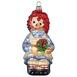 Raggedy Ann With Present Glass Ornament Christmas Holiday Doll Handpainted