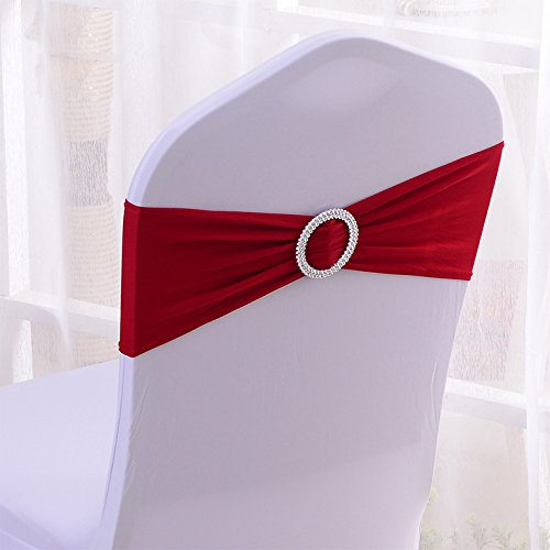 50PCS Stretch Wedding Chair Bands With Buckle Slider Sashes Bow Decorations 22 Colors (Wine Red)