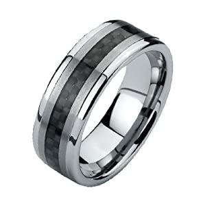 Black Tungsten Wedding Bands for Men (8mm)