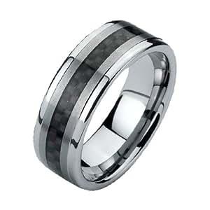 Black Tungsten Wedding Bands for Men (8mm)