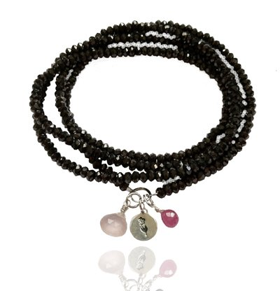 Positive Energy Yoga Bracelet with Sterling Silver Flower and Rose Quartz, Garnet Charms, Black Quartz Crystal, 27 Inch Long.