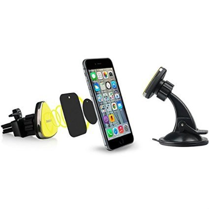 Omaker マグネット式車載スマホホルダー エアコン吹き出し口用とダッシュボード用スマホスタンドの組み合わせ iPhoneSE/iPhone6s/sony/XperiaZ5/カーナビなどに対応するカーマウント(ブラック+イエロ)OMA4130