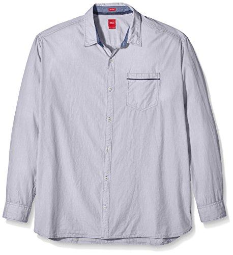 s.Oliver Big Size mit Streifenstruktur-Camicia Uomo    Blau (fog blue stripes 59G3) XXX-Large