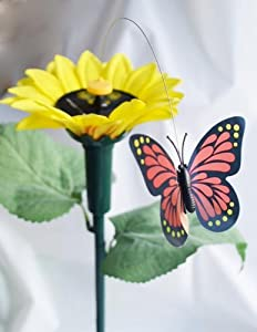 Solaration ® 7007 Fluttering Butterfly w./ Sunflower Solar Garden Yard Stake from Solar Wholesale