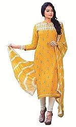 Aradhya Women's Yellow Satin Cotton Dress Material
