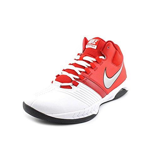 Women's Nike Nike Air Visi Pro V Basketball Shoe White/University Red/Metallic Silver Size 9.5 M US
