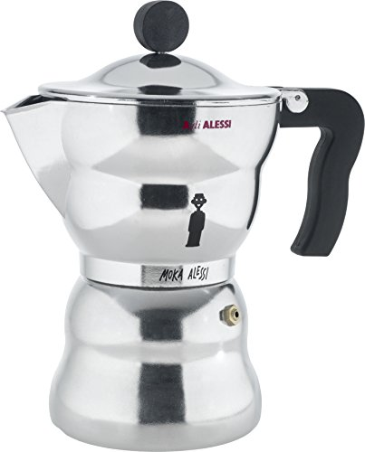 "Alessi AAM33/6 ""Moka"" Stove Top Espresso 6 Cup Coffee Maker in Aluminium Casting Handle And Knob in Thermoplastic Resin, Black"
