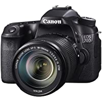 Canon EOS 70D 20.02MP Full HD 1080p Wi-Fi Digital SLR Camera with 18-135mm IS STM Lens (Black) - Manufacturer Refurbished