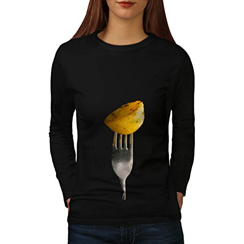 Roast Cooked Potatoe Women NEW Black XL Long Sleeve T-shirt | Wellcoda (Roast Potatoes Recipe compare prices)