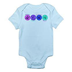 CafePress Colored French Bulldogs Infant Creeper Infant Bodysuit - 0-3M Sky Blue
