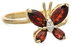Amazon+Curated+Collection Yellow Gold Plated Sterling Silver Garnet with Diamond-Accent Butterfly Ring