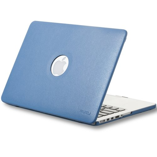 Best  Kuzy - Retina 13-Inch AQUA LEATHER Hard Case for MacBook Pro 13.3