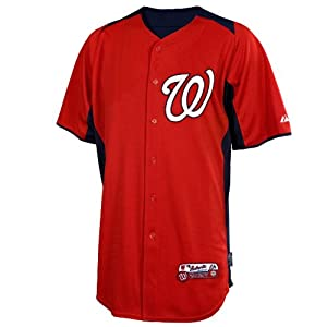 Washington Nationals Jersey: Authentic Scarlet On-Field Batting Practice Jersey by Majestic