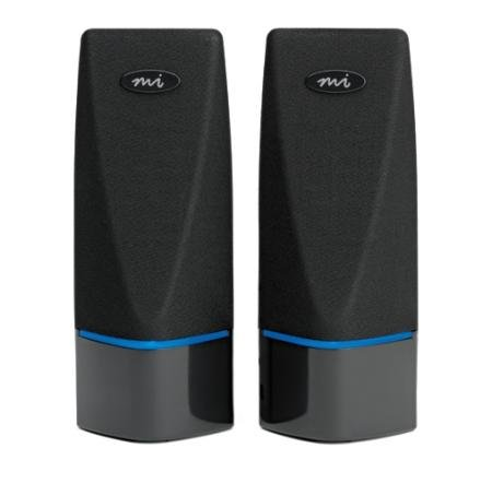 Digital Innovations 2 Channel Usb Powered Speakers Blue Led Lights Magnetically Shielded
