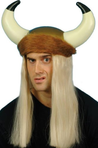 Smiffy's Viking Helmet with Long Blonde Hair and Furtrim