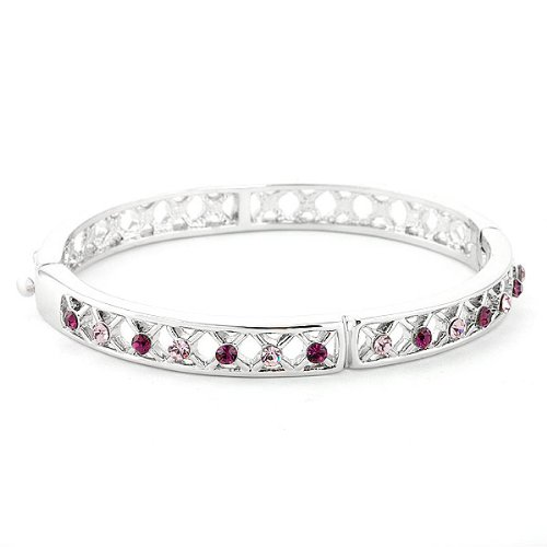 Perfect Gift - High Quality Elegant Bangle with Purple Swarovski Crystals (1621) for Birthday Anniversary Free Standard Shipment Clearance
