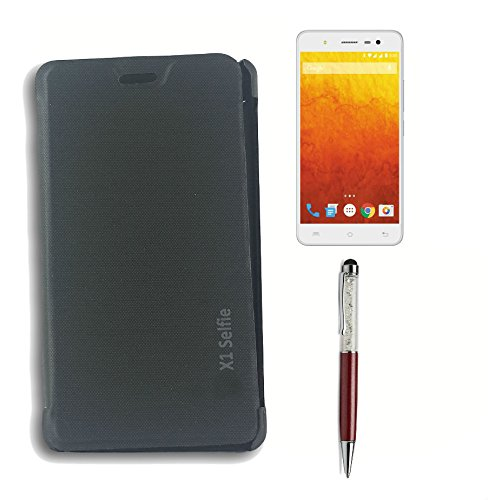 BlueArmor Flip Cover Case For Lava Iris X1 Selfie - Black + Screen Protector+ Solitaire Crystals Touch Stylus Pen