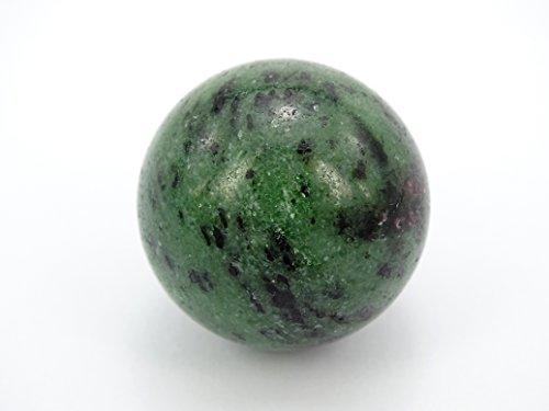 jennysun2010gemme naturali da collezione Round Ball Crystal Healing sfera Finger Salute Massaggio Rock pietre 30mm 40mm con supporto di legno, 30mm Ruby Zoisite, 1 pezzo