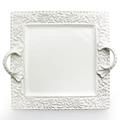 American Atelier Bianca Leaf Square Platter with Handles by American Atelier