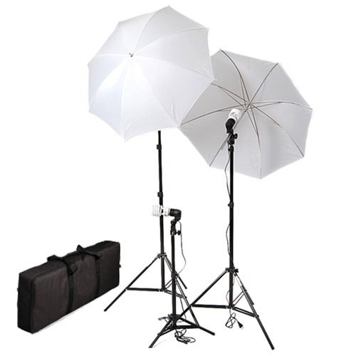 CowboyStudio Photography/Video Portrait Umbrella Continuous Triple Lighting Kit with Three Day Light CFL Bulbs, Three Stands, Two Umbrellas, and One Carrying Case For Product, Portrait, and Video Shoots