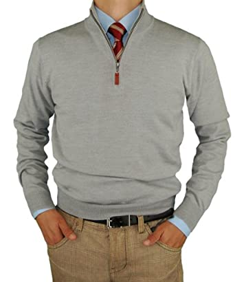 Luciano Natazzi Men's 100% Merino Wool Quarter Zip Mock Neck Sweater Soft Like Cashmere Light Gray (Small)