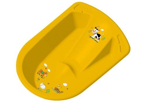 Vaschetta bagnetto neonati con sedile e tappo FUNNY FARM di OKT 80 cm colore: albicocca