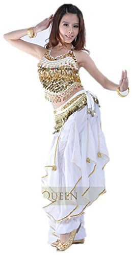 Dreamspell Professional White Belly Dance Costume 3Pieces Coins Decorated