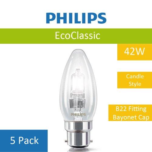 5-pack-of-42w-philips-b35-eco-classic-energy-saving-light-bulb-high-quality-halogen-light-b22-bc-bay