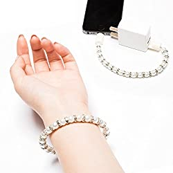 USB Cable, E LV High Quality Data Transfer Designer Bracelet White Pearl Data Sync Lightning to USB Charging Cable For iPhone, iPad, iPad Mini, iPad air and Other IOS Devices - WHITE