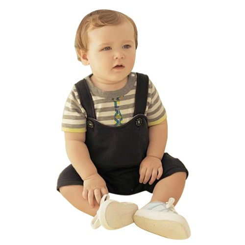 Little Hand Baby Boys' Stripe Suits Outfits Coverall Sets Tops Suspenders