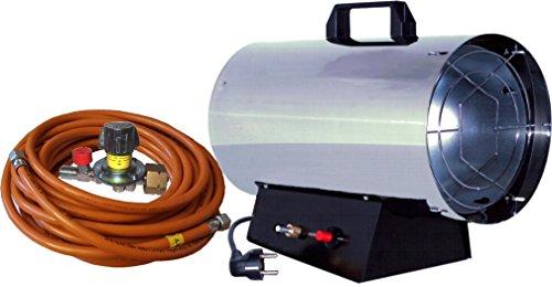 Gas-Heizkanone Gasheizer Gasheizgerät 15 KW Edelstahl inkl. regelbarem Regler mit integrierter Schlauchbruchsicherung , 10 m Schlauch GT150E