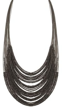 ZAD 30 Line Black Seed Bead Bib Style Necklace on 18-24