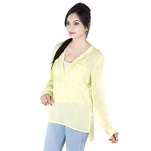 46d880921451a kashana Big Girls  Viscose Casual Full Sleeves Solid Pattern V Neck Top  XX-Large Yellow