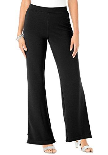 Roamans Women's Plus Size Tall Ponte Bootcut Knit Pants Black,22