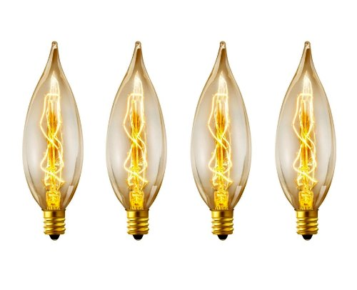 Globe Electric 25W Vintage Edison B10 Flame Tip Incandescent Filament Light Bulbs (4-Pack), Candelabra E12 Base 01327 (Filament Bulb 25w compare prices)