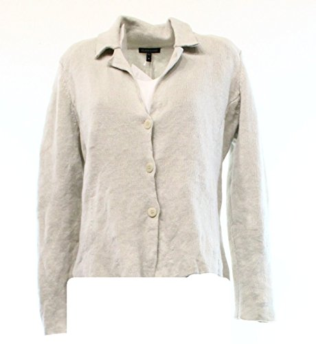 Eileen Fisher Women's Bone Tan Cotton Metallic Notch Collar Sweater Jacket Medium (Jackets Eileen Fisher compare prices)